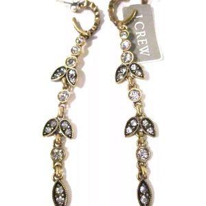 J. CREW Crystal Antique Leaf Drop Earrings NWT $80